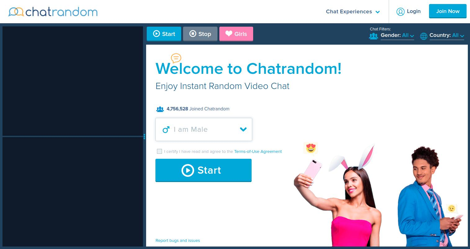ChatRandom Home Page Screenshot