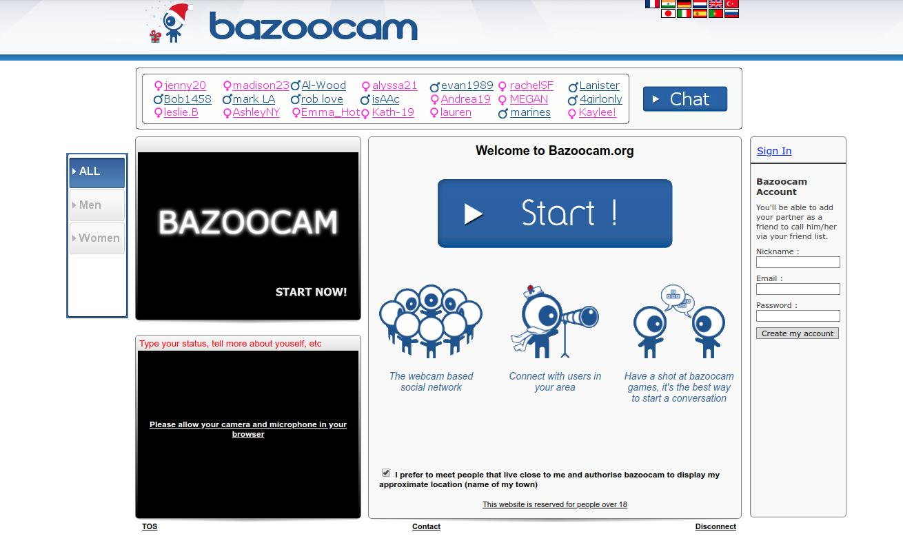 BazooCam Home Page Screenshot