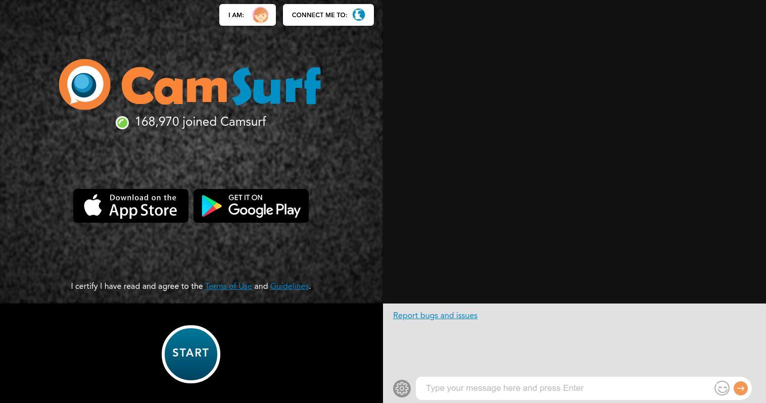 CamSurf Home Page Screenshot