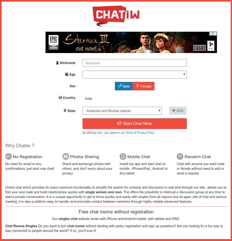 Chatiw Home Page Screenshot