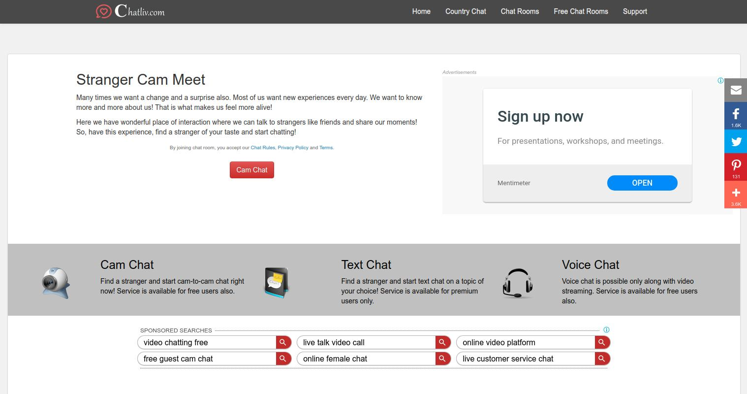 Chatliv Home Page Screenshot