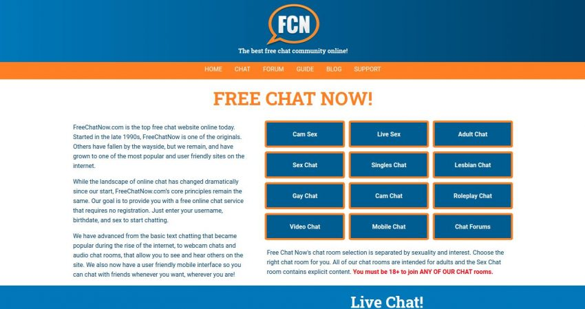 FreeChatNow Home Page Screenshot