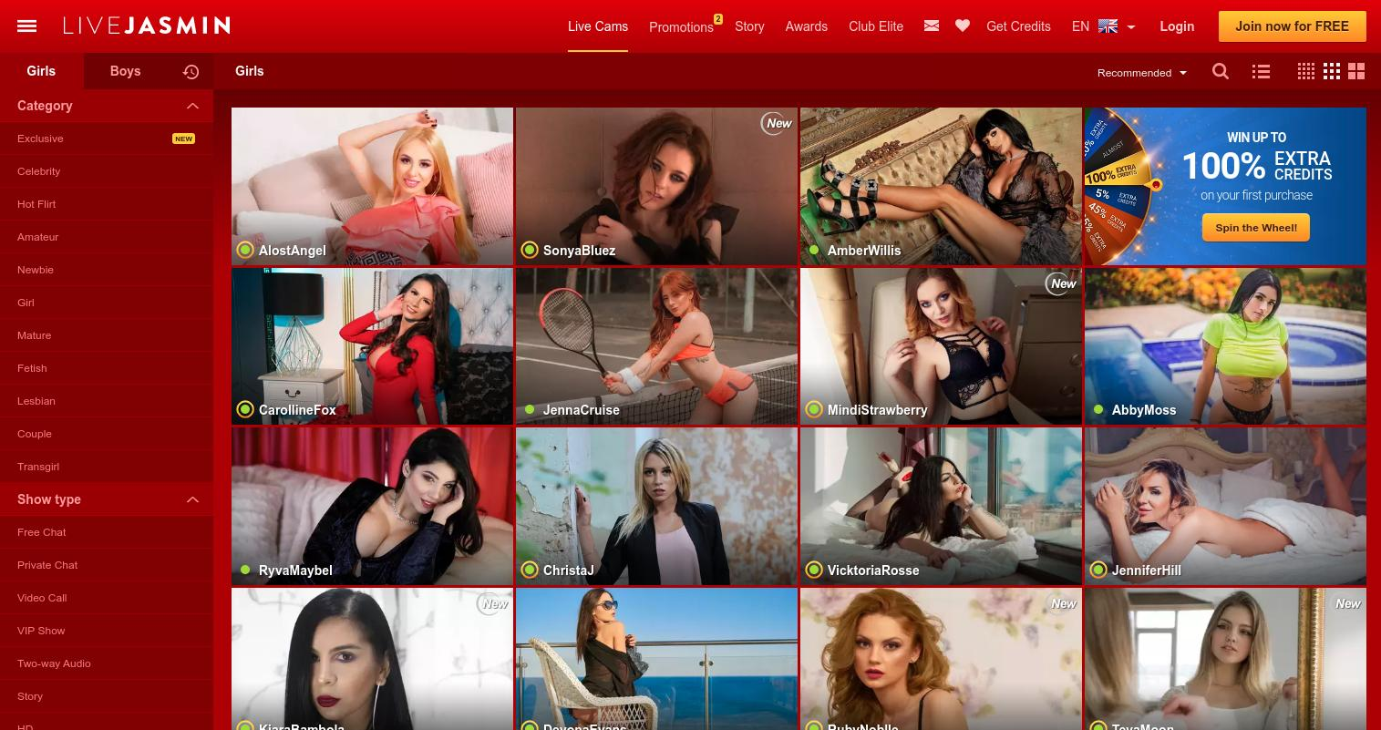 Livejasmin Home Page Screenshot