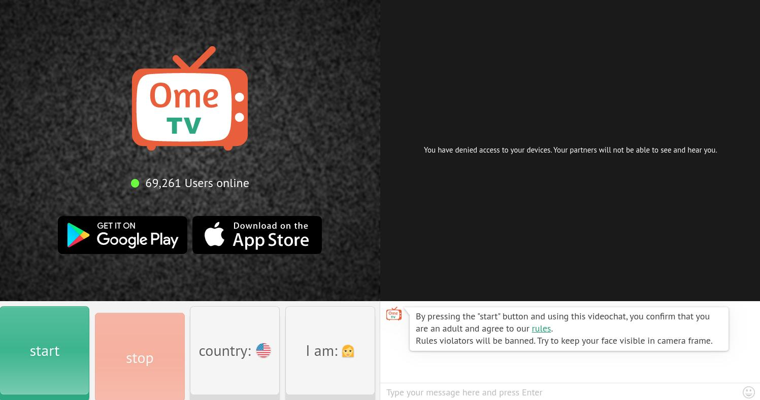 Ome.Tv Home Page Screenshot