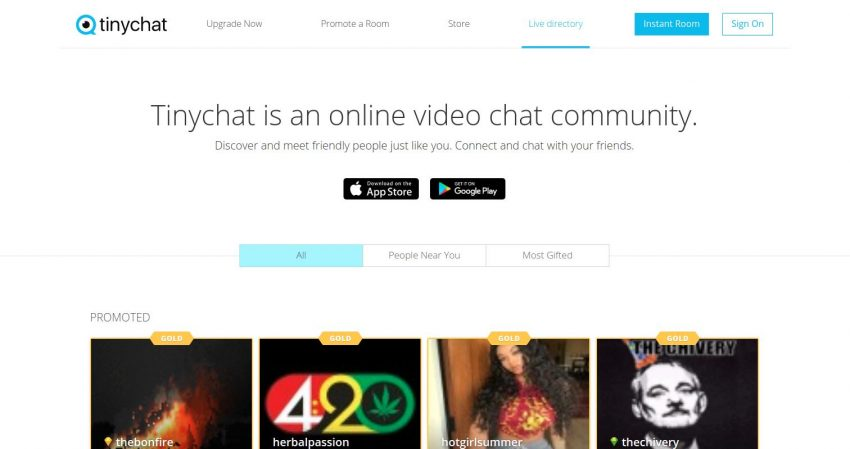 TinyChat Home Page Screenshot